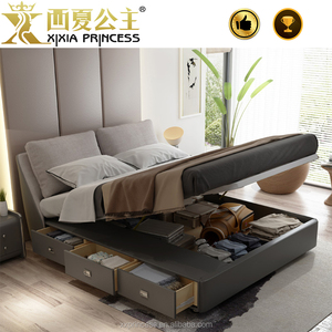 Wholesale simple design double/queen/ king size bed with storage for bedroom furniture
