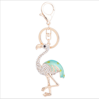 YX463 2017 Hot selling Flamingo metal car key chain fashion female bag ornaments&wedding souvenirs