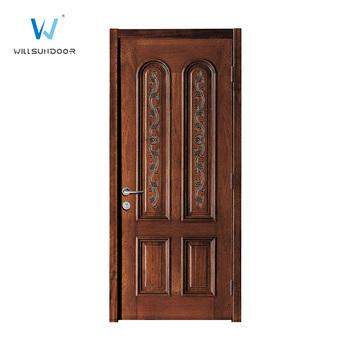 Indian Style Interior Single Black Walnut Veneer Solid Carved Wood