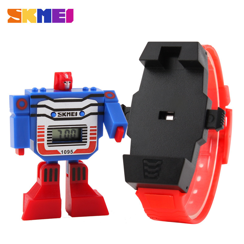 2015 Fashion LED Digit Kids Children Watch Sports Cartoon Watches Cute Relogio Relojes Robot Transformation Toys Boys Wristwatch