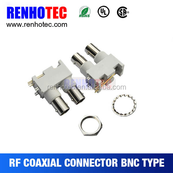 Double Plastic BNC PCB Mount Connector In One Row