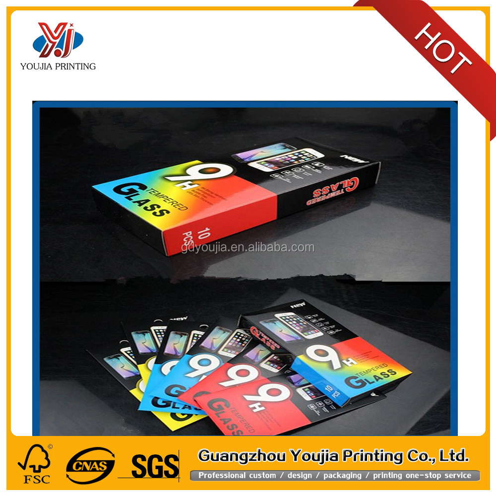 Wholesale custom design phone tempered glass screen protector paper box packaging