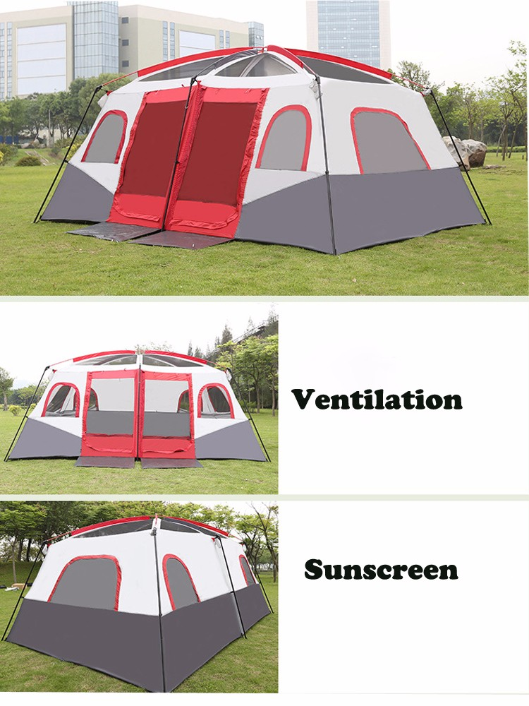 Family camping equipment 8-12 Men Large Family Camping Tent Waterproof 3 Rooms Tent