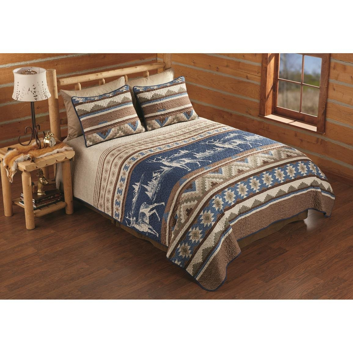 3 Piece Tan Brown Blue Deer Southwest Quilt King Set, Hunting Themed Bedding Southwestern Native American Wildlife Tribal Cabin Pattern Lodge Stripes Forest Nature Wilderness Taupe, Cotton Polyester