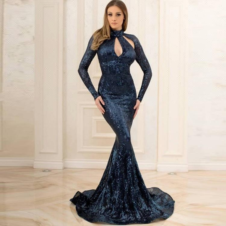 2018 Fat Women Dresses Plus Size Evening Dress Long Gown New Arrival Party  Wear Gowns Sequin Prom Dress With Long Sleeves - Buy Plus Size Evening ...