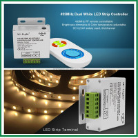 New 433 MHZ 12A LED Dual White CW/WW Strip CCT Color-Temp Adjustable Dimmer Controller with RF Wireless Touch Remote