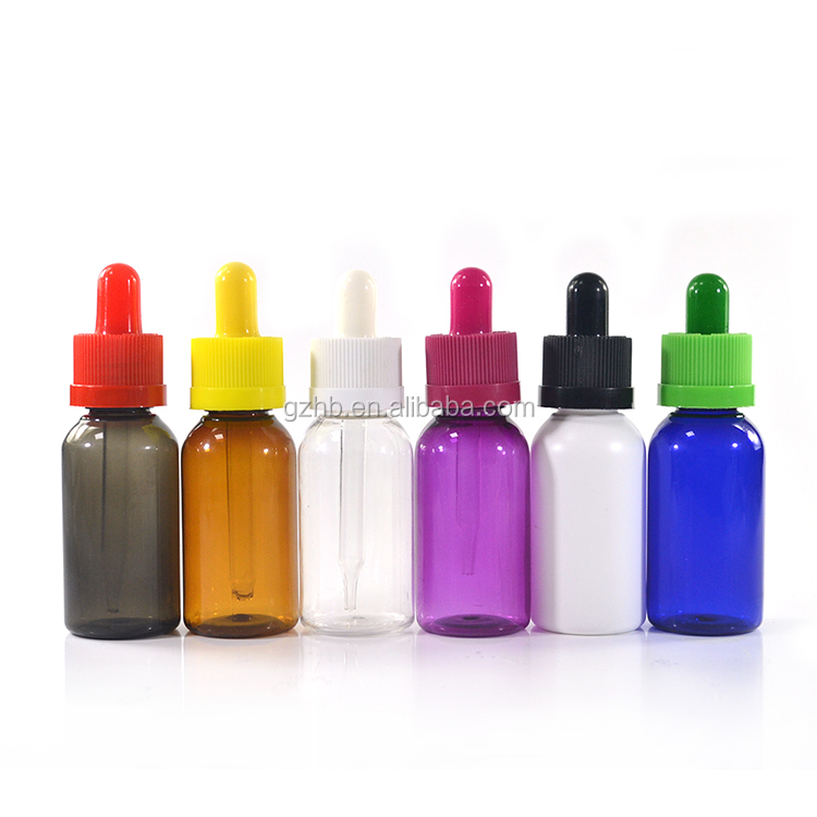 High Quality colored clear black blue amber plastic 30ml pet e liquid dropper Bottle with childproof cap and glass pipetitte