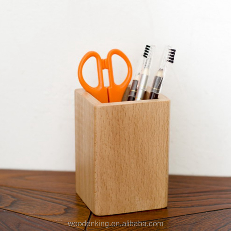 The Factory Wholesales Direct Selling Custom Ju Wood Cosmetic Brush Mini Square Handmade Wooden Single Pen Holder