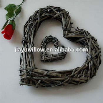 wicker home christmas decoration heart shape willow
