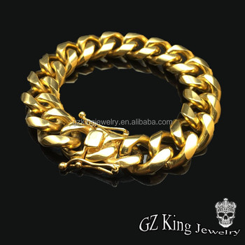Hip Pop Mens 14k Gold Plated Miami Cuban Link Chain Bracelet Men Jewelry