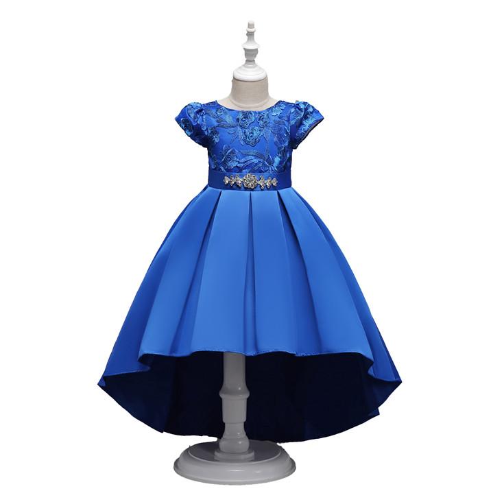 220eb8d006de7 Luxe Haute Qualité 5 Ans Rose Satin Enfants Vêtements Fille Robes Enfants  Bébé Bleu Robe de