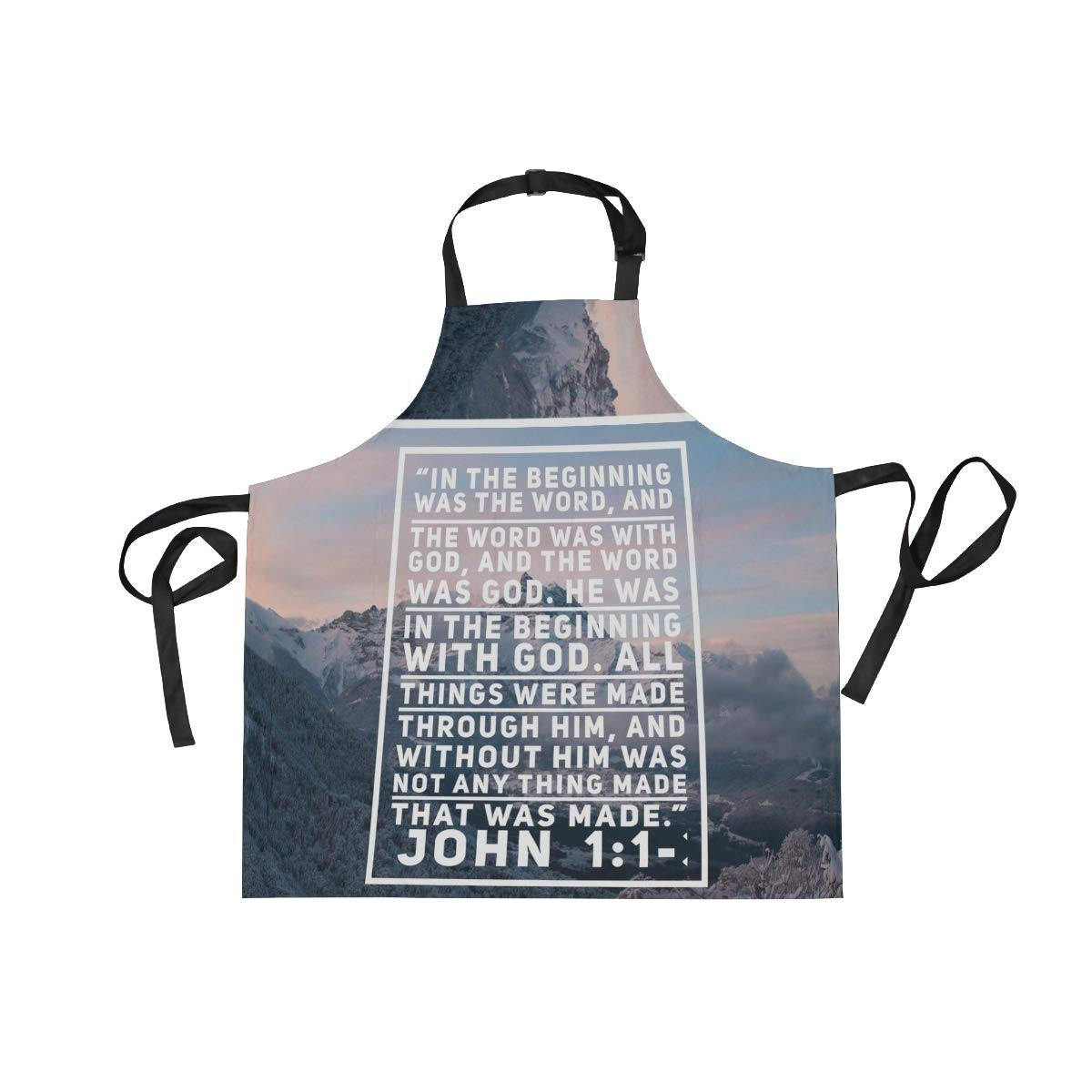 Unisex Apron Christian Verse Bible Snow Mountain Winter Adjustable Apron with Pockets for Men Women Kitchen Personal Decor Cooking Baking Kitchen Gardening Waist Apron Adult Apron,Twill,Multicolor
