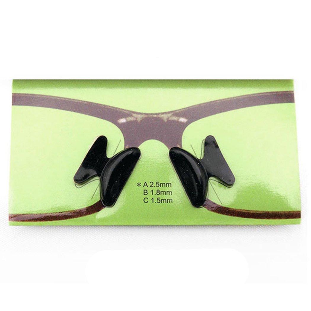 1 Pair Eyeglass Sunglasses Soft Silicone Anti-Slip Stick On Nose Pads (2.5mm, Black)
