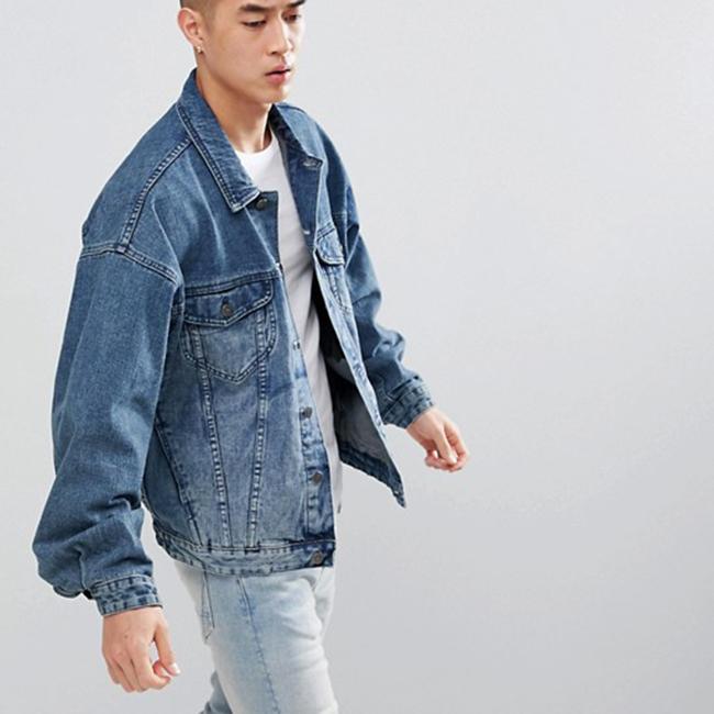 cac982eac5416 Toptan yüksek kaliteli düğme aşağı açık mavi mavi büyük boy erkekler denim  ceket