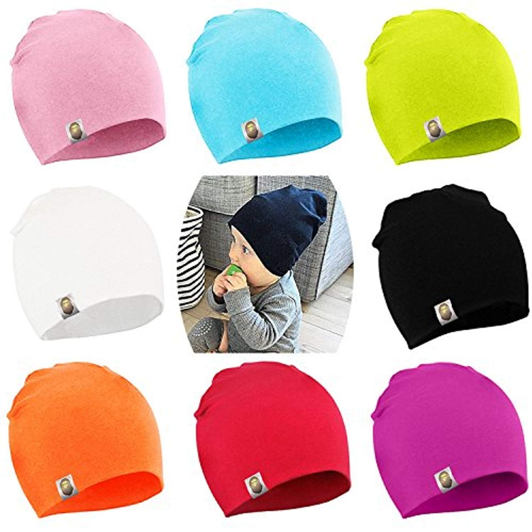 21 Color Top Knot Stretchy Hats Unisex Baby Earflaps Winter Hospital Caps Cute Nursery Beanie Hat