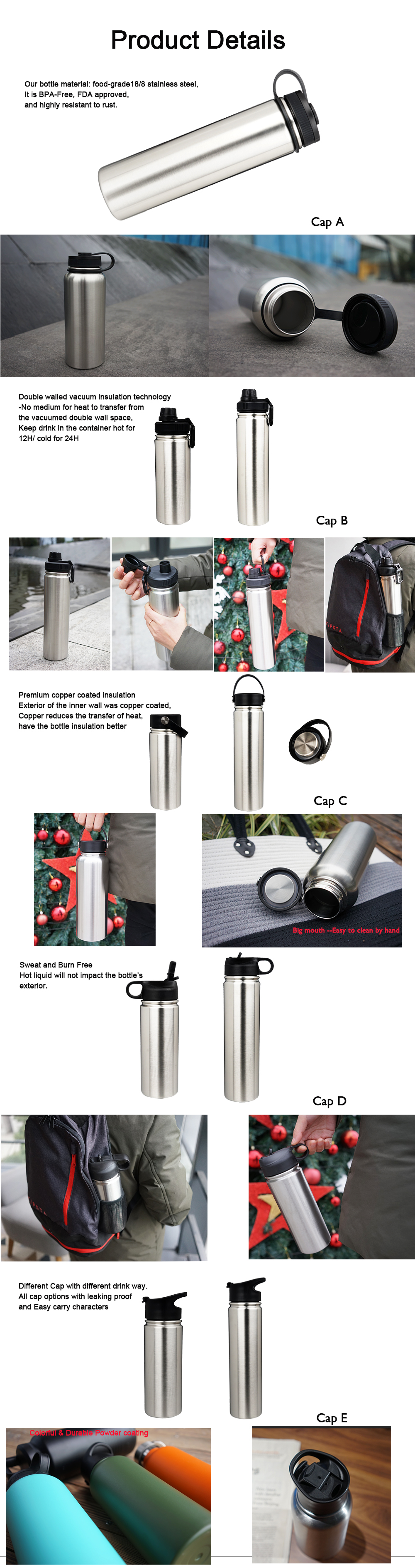 18oz 550ml double wall stainless steel vacuum bottle outer door water bottle can be customized design