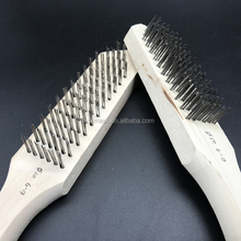 Machine cleaning wooden long handle stainless steel wire brush