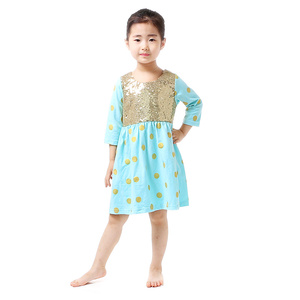 Wholesale Baby Girl Maxi Dress For Birthday Party long sleeve sequin dress baby girl party dress