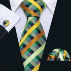 Cheap Silk Plaid Tie Handkerchief Cufflinks Set Green Checked Necktie for Men