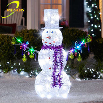 outdoor christmas decoration lighted metal christmas snowman