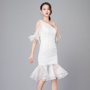 Palace style pure white has temperament to show shoulder lace long dress with fishtail