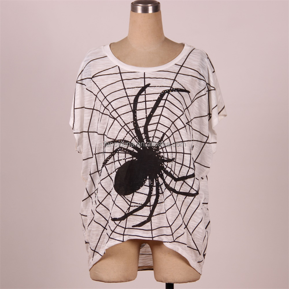 2017 New Women Fashion Novelty Spider Printed Loose T Shirt