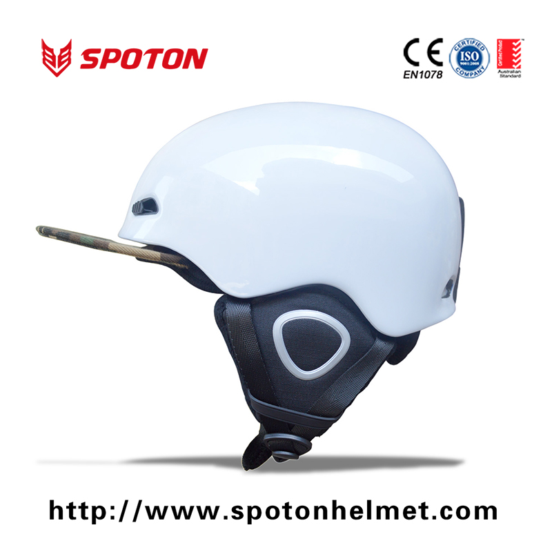 Classic Safety White Snow Helmet Kids With Ear Pad Attached SGS CE