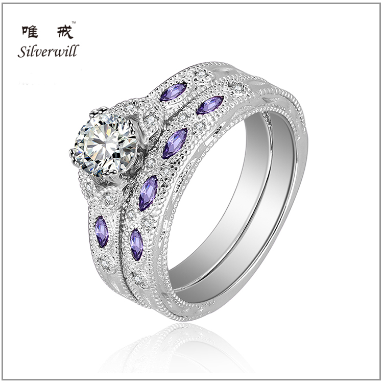 Beautiful round cut silver band engagement ring purple marquise bezel setting ring sets