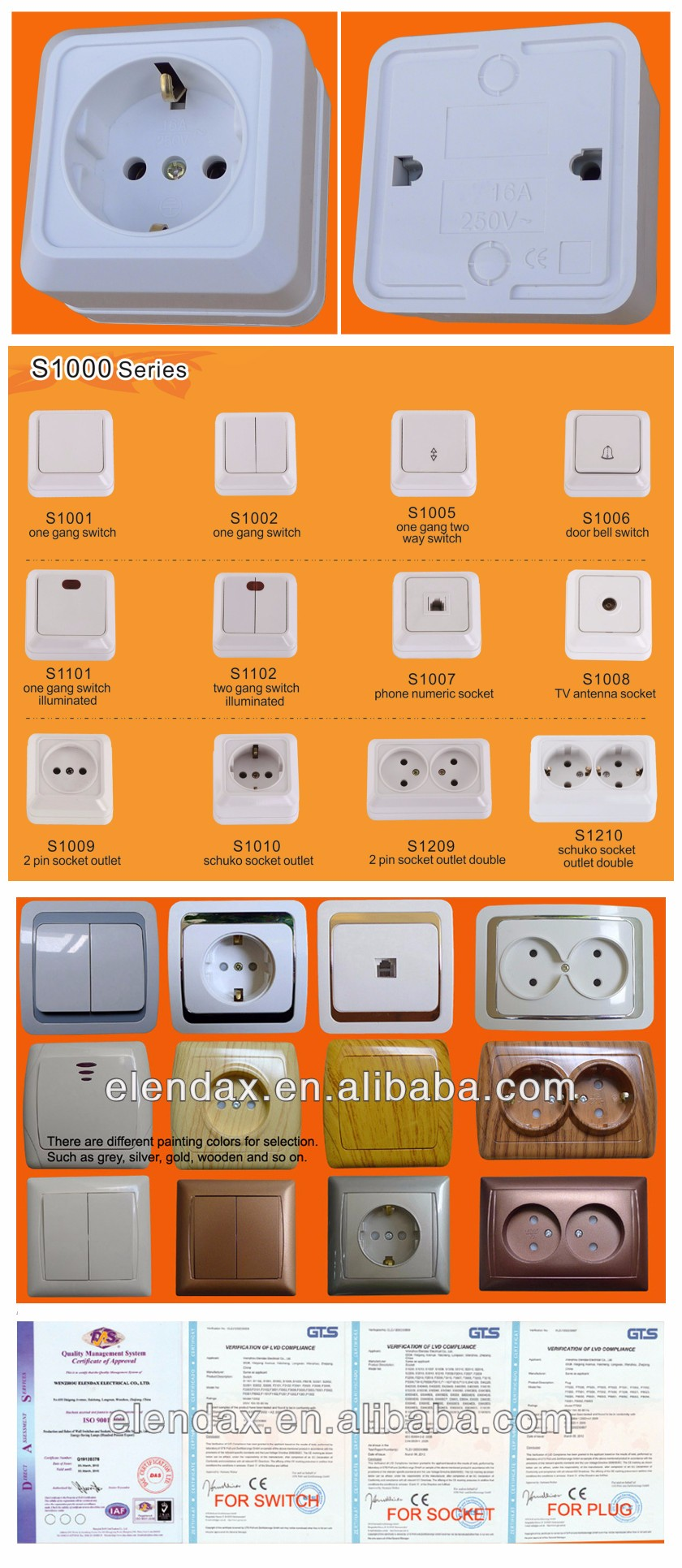 S1010 European Style Surface Mounted Schuko Socket Outlet