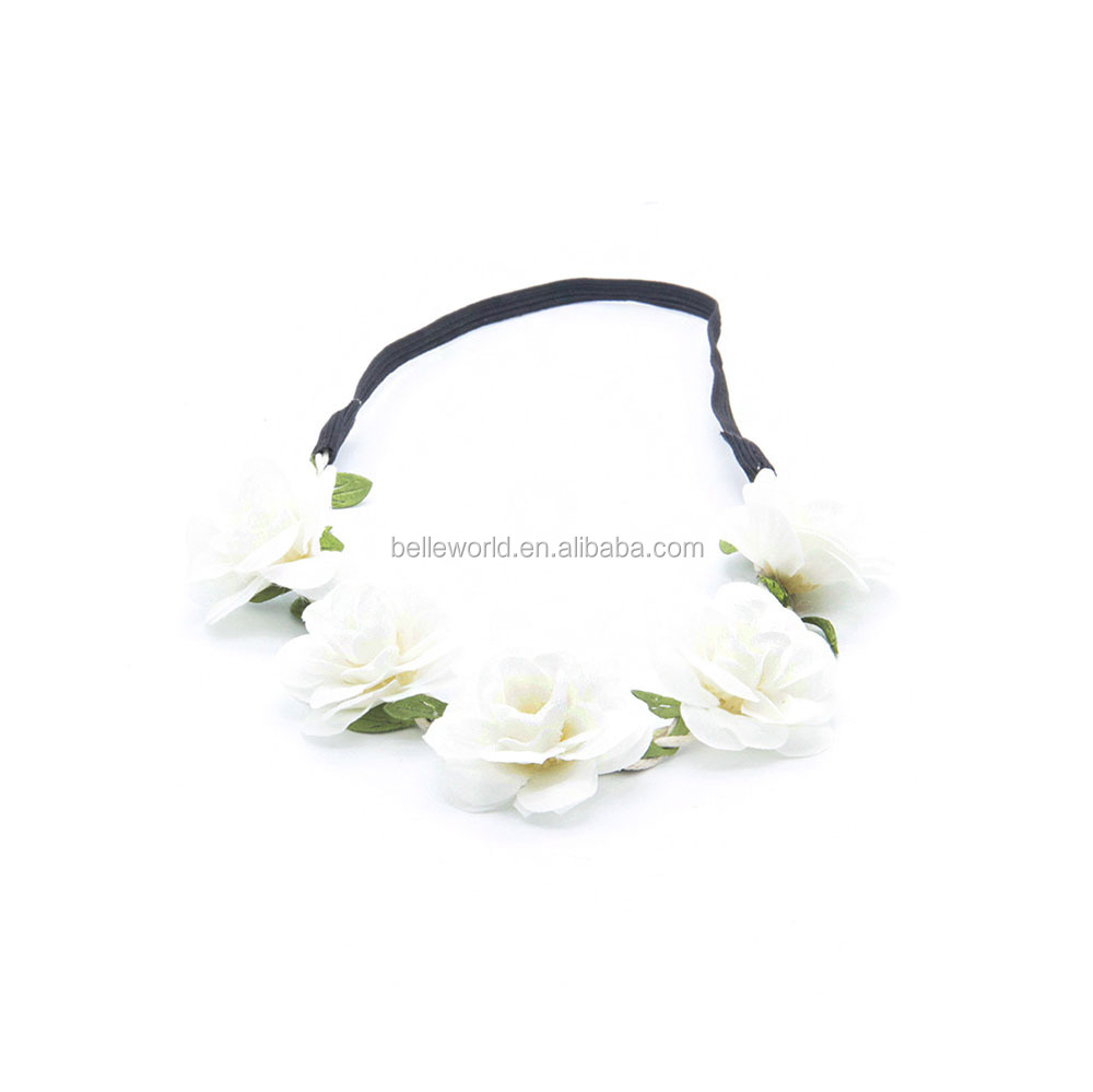 New arrival big flowers hairband gradient color froal elastic headband