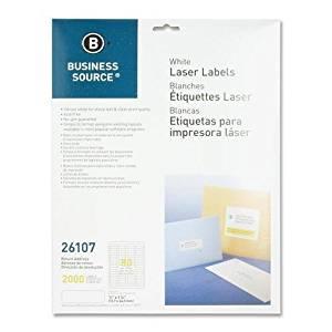 """Business Source 26107 Mailing Labels,Return Address,Laser,1/2"""" x1-3/4,2000/PK,WE"""