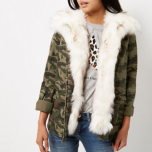 3465b7dbf811 Winter Women Khaki Camo Print Faux Fur Lined Army Denim Jacket - Buy ...
