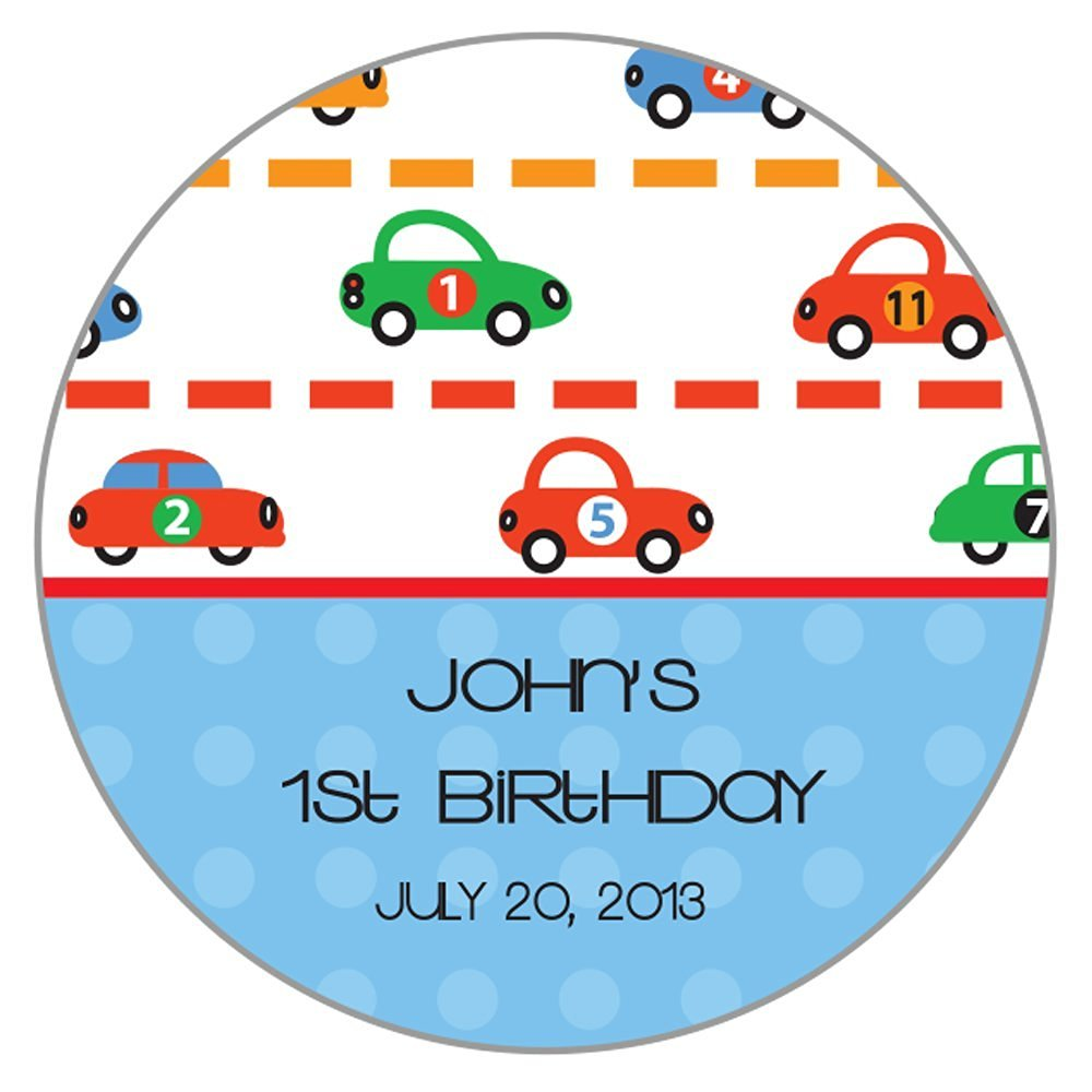Personalized Circle Baby Shower Gift Stickers, 50-Pack - CUSTOM MADE ANY NAME / TEXT Cars SRTZ-34