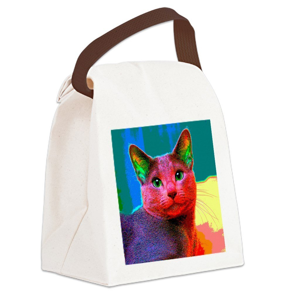 ec2cfd89a9 Get Quotations · CafePress - Pop Cat Art Design Canvas Lunch Bag - Canvas Lunch  Bag with Strap Handle