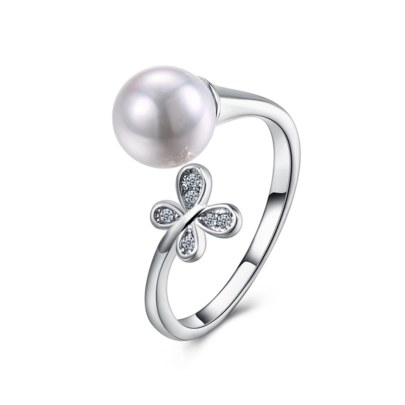 PLR007 Smart Flower design fine quality pearl s 925 rings factory direct