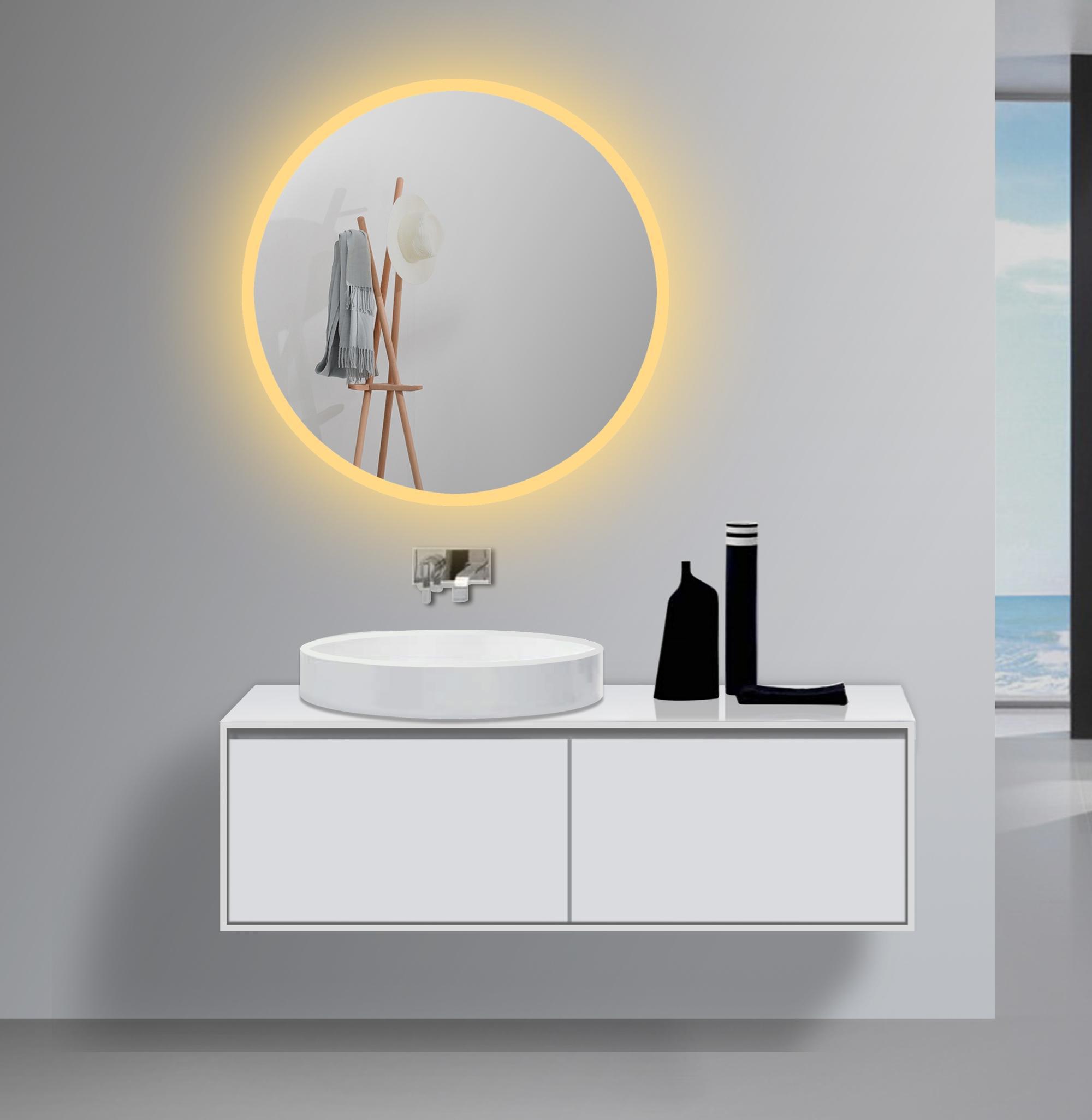 Top Moderne Ontwerp Muur Badkamer Led Verlichting Ronde Spiegels Voor GD72