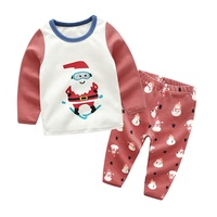 New style kid clothing set 100%cotton boys girls Christmas suit long sleeve clothes2pcs outfit pajamas