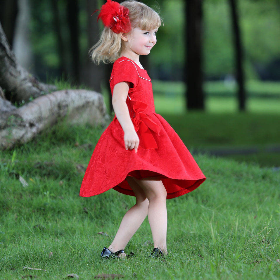 a595409e8b2 Hot Autumn Jacquard Little Girls Red Dress With Double Bow Lively Girls  Christmas Dress Cute Children Clothing GD80613-6F