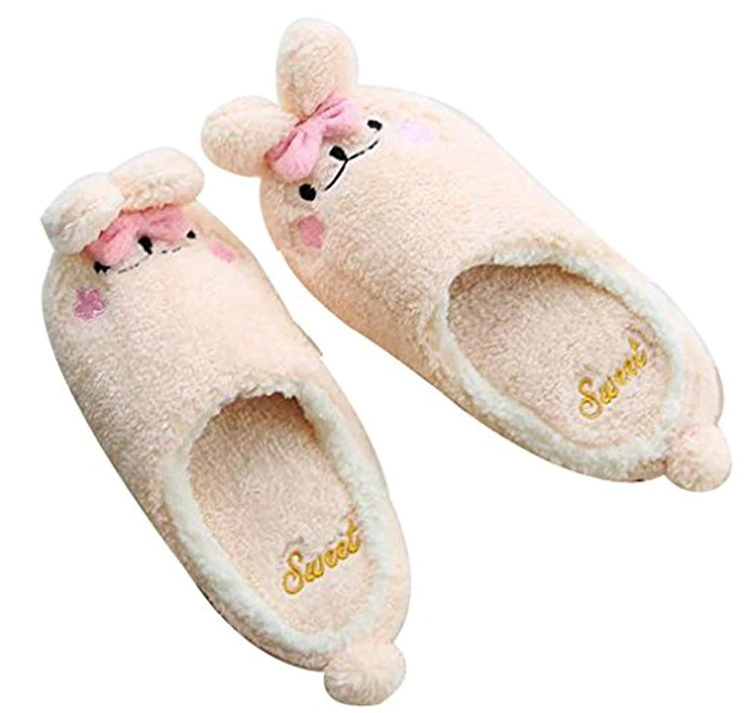 030f2383aab Get Quotations · FreLO Women s Pink Plush Bunny Cute Winter Slippers  Slippers