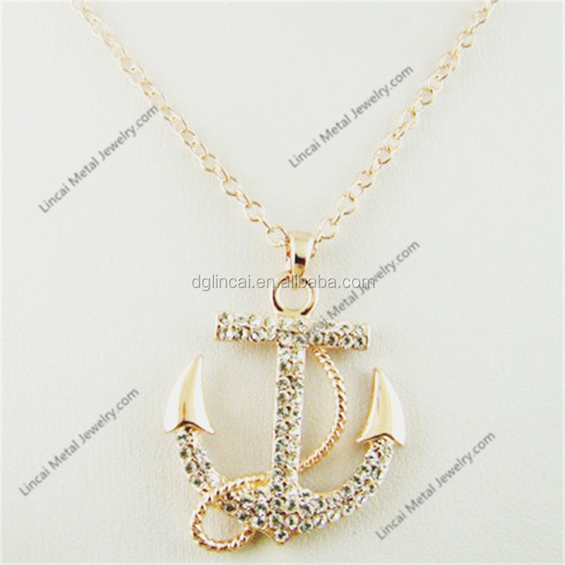 Alloy gold color crystal anchor pendant necklace