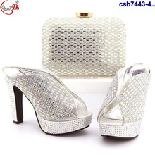 Double eleven discount csb7443-4 white color nigeria ladies shoes and bag set italian shoes set