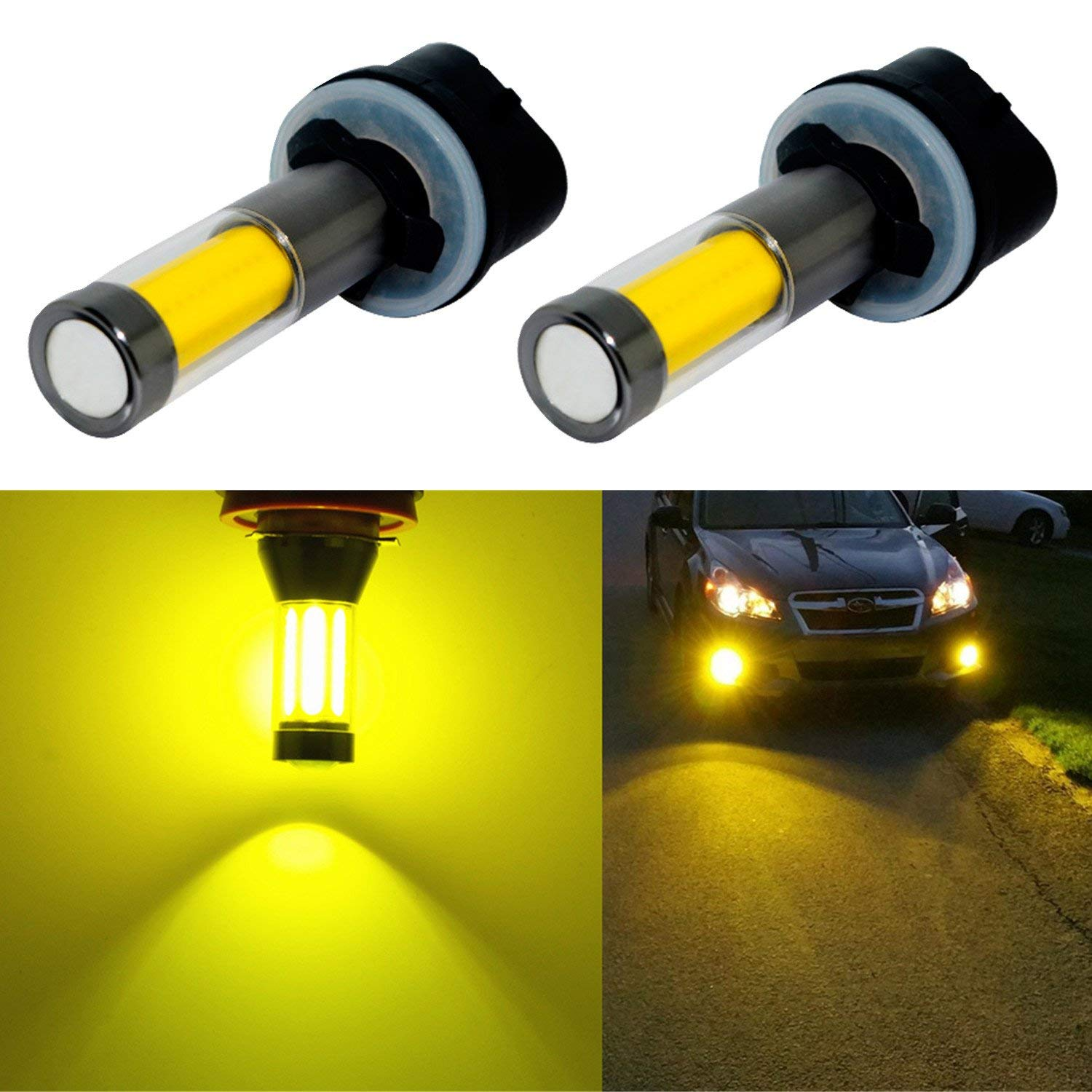 H7 LED Fog Lights Bulb Yellow Amber Gold Golden 3000K for Trucks Cars Lamps Kit Plug Error Free All in One High Power Replacement Bulbs 12V 30W 2800LM Super Bright COB Chips 1 Year Warranty【1797】