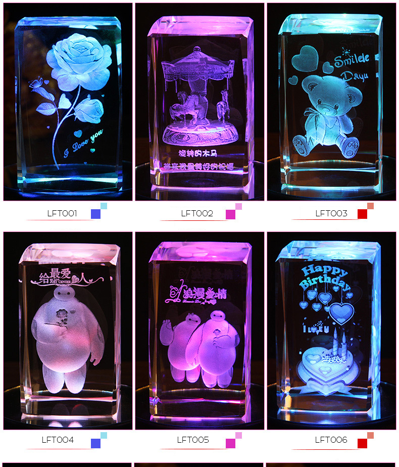 Wholesale engraving animated character 3D laser crystal