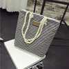 mixed colors lady canvas beach bag rope handle tote bag