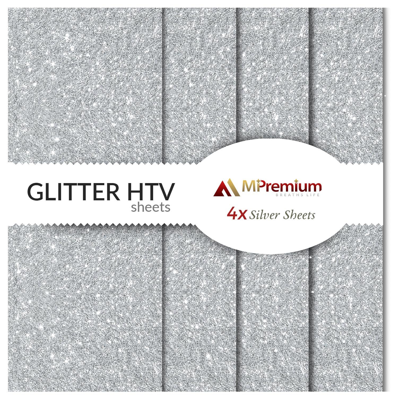 MiPremium Silver Glitter Heat Transfer Vinyl, Glitter HTV Iron On Vinyl (Pack of 4 Sheets), for T Shirts Sports Clothing, Garments & Fabrics, Easy Cut Weed & Press Silver Glitter HTV Vinyl (Silver)
