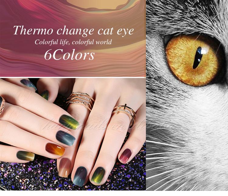 Termo cambio de color ojo de gato soak off LED gel de uñas