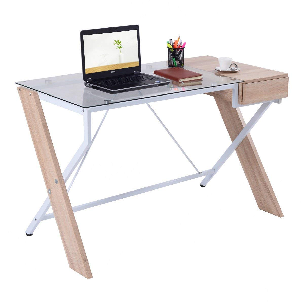 ShopForAllYou Desk Table Office Computer Desk Laptop Table Glass Top Wood Metal Frame Home Office Furniture New