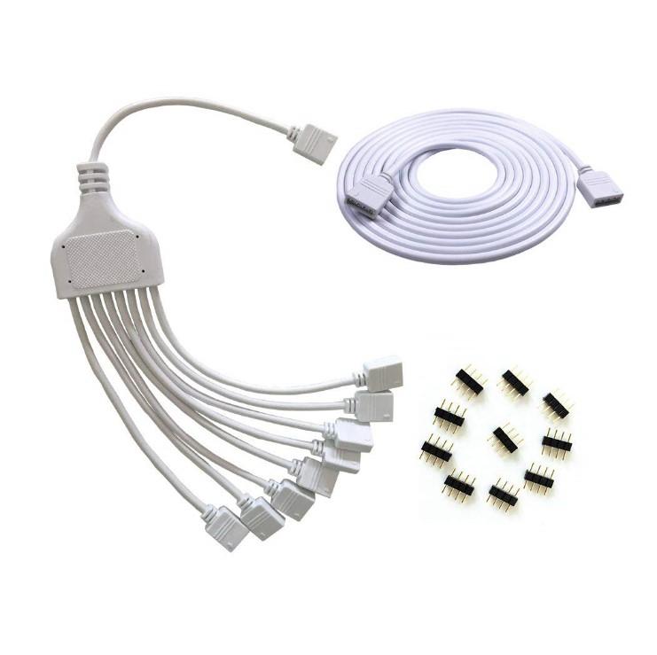 4 Pins siyah rgb LED Splitter Kablo LED Şerit Bağlayıcı 8 Yollu Splitter Y Splitter için Bir ila Sekiz RGB 5050 3528 LED Işık şerit