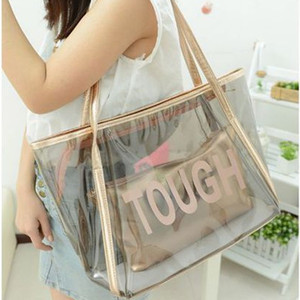 China Suppliers waterproof gold Transparent PVC Women Bags Tote Beach Handbags tote bag with leather handle summer 2018 new