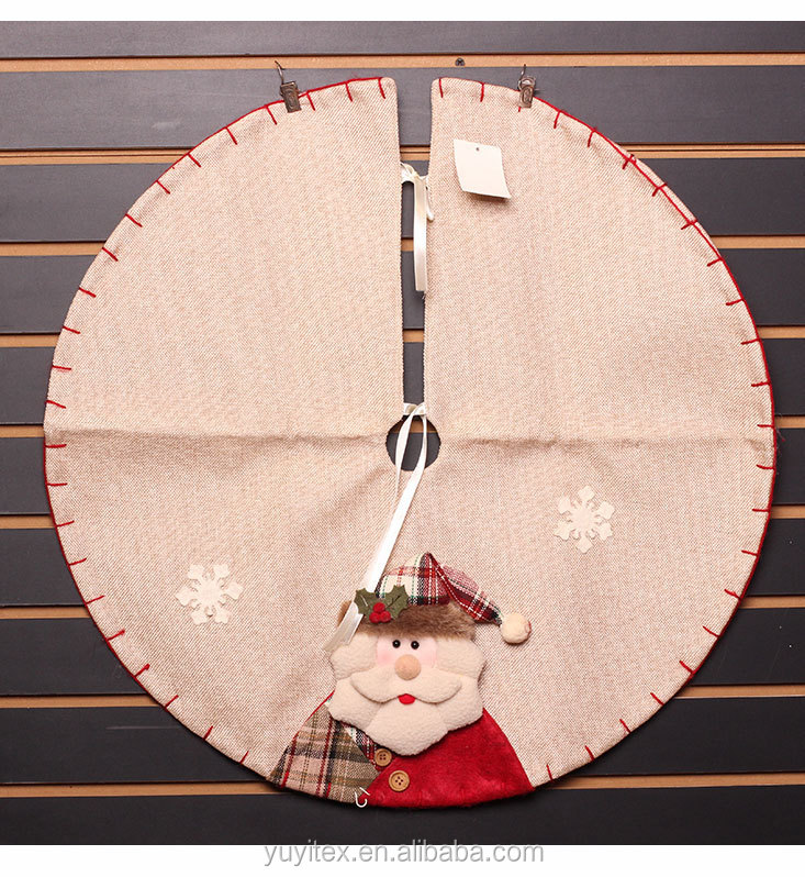 Burlap Christmas Tree Skirt Round with Snowfake and Santa in 60CM American Christmas Decoration